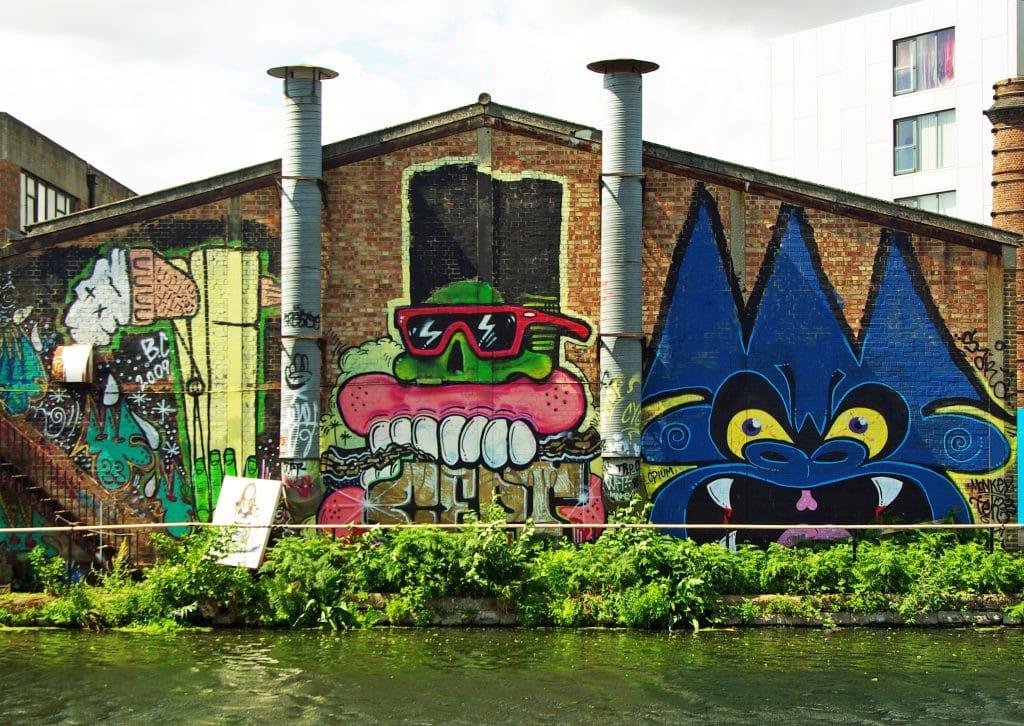 Colourful murals in Hackney Wick.