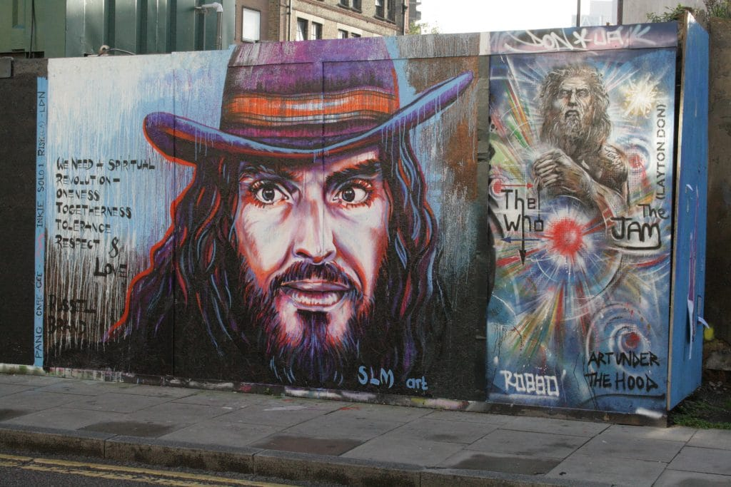 Russell Brand street art in Hackney.