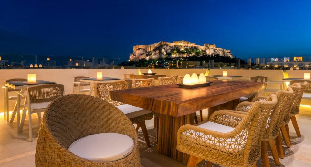 Thea Terrace Bar offers ambient dining.